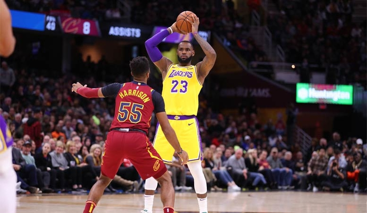 detailed look ea9e0 b1cee LeBron Scores 32, Leads Lakers to Victory in Cleveland Homecoming   Los  Angeles Lakers