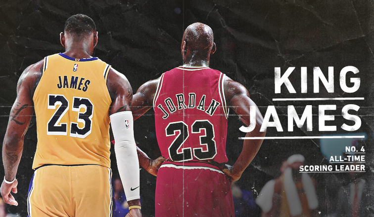 6ed38f0b7f39ce LeBron James Passes Michael Jordan for 4th on All-Time Scoring List ...