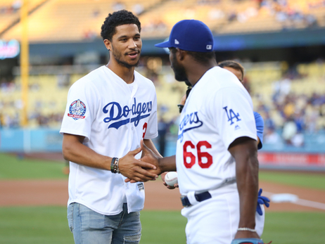 Josh Hart Throws First Pitch for Lakers Night at Dodger Stadium