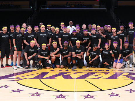 SoCal Military Learn Basketball Skill from Lakers Legends