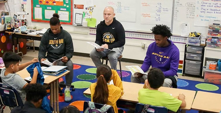 South Bay Lakers Hold Reading Day at Torrance's Edison Elementary