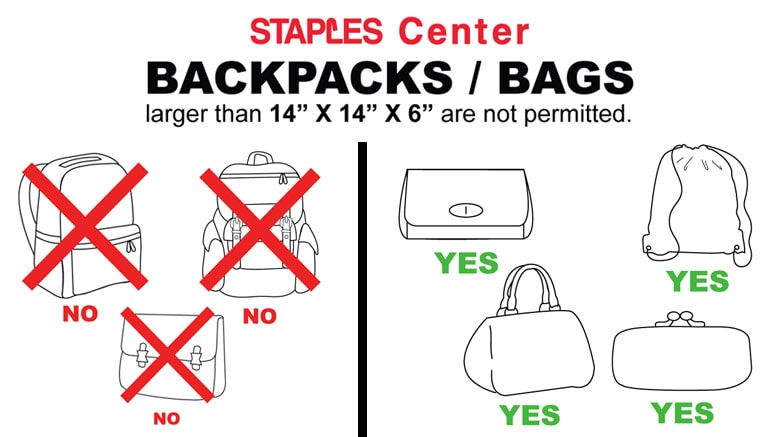 STAPLES Center Bag Policy