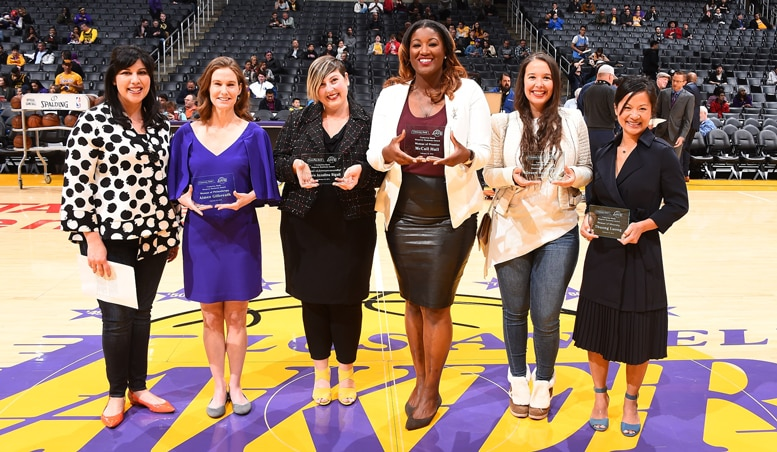 Jaqueline Vega (Comerica Bank representative), Aimee Gilbreath, Laura Azzalina Rigali, McCall Hall, Desert Horse-Grant and Thuong Luong accepting the Comerica Bank Woman's Business Award for January 2018.