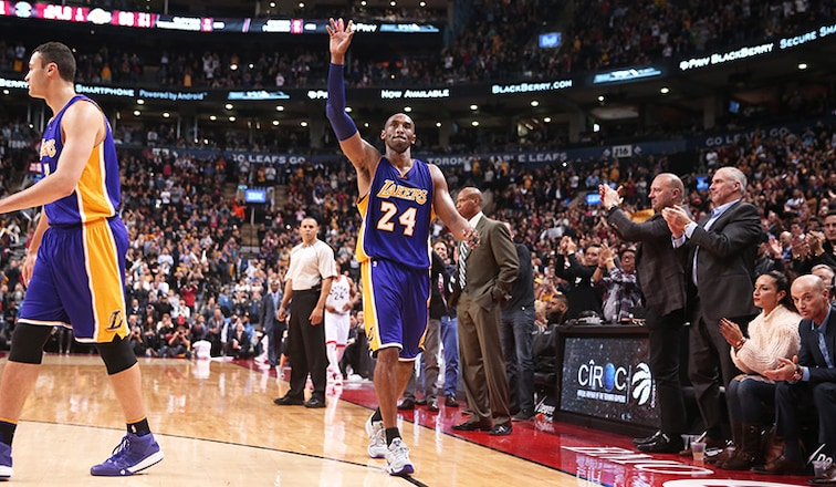 Kobe Bryant exits the game to a standing ovation in Toronto on December 8, 2015.