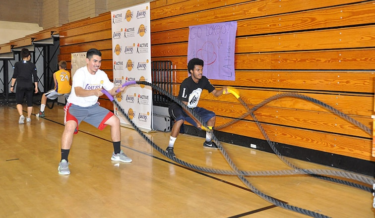 Lakers Visit Local High Schools
