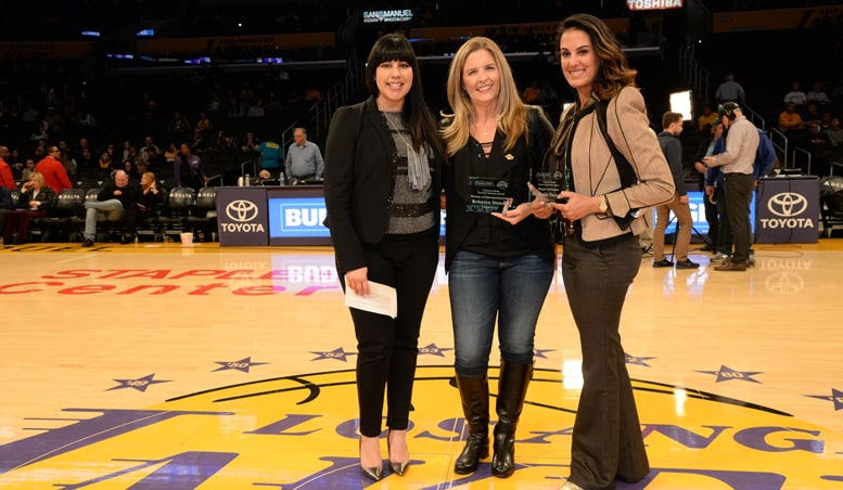 Jacqueline Vega (Comerica Bank Representative) along with Rebecca Stewart and Dr. Sheila Nazarian accepting the Comerica Bank Woman's Business Award for November 2016.