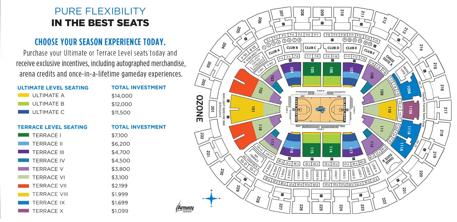 Amway Center How Many Seats In A Row