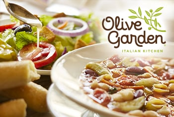 Olive Garden soup, salad and bread sticks