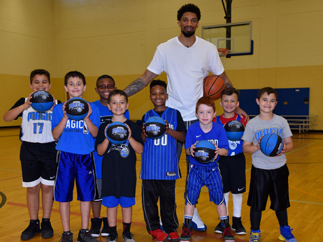 Khem Birch Makes Surprise Visit at Magic Basketball Camp