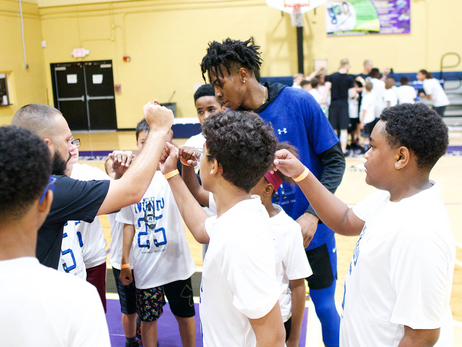 Iwundu Teaches Basketball Drills and Life Skills at Camp For Local Youth
