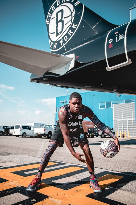 The Nets added some Biggie flavor from their new City Edition jerseys to the introduction of their branded JetBlue aircraft.(Photo Credit: Brandon Todd / @branndannart)