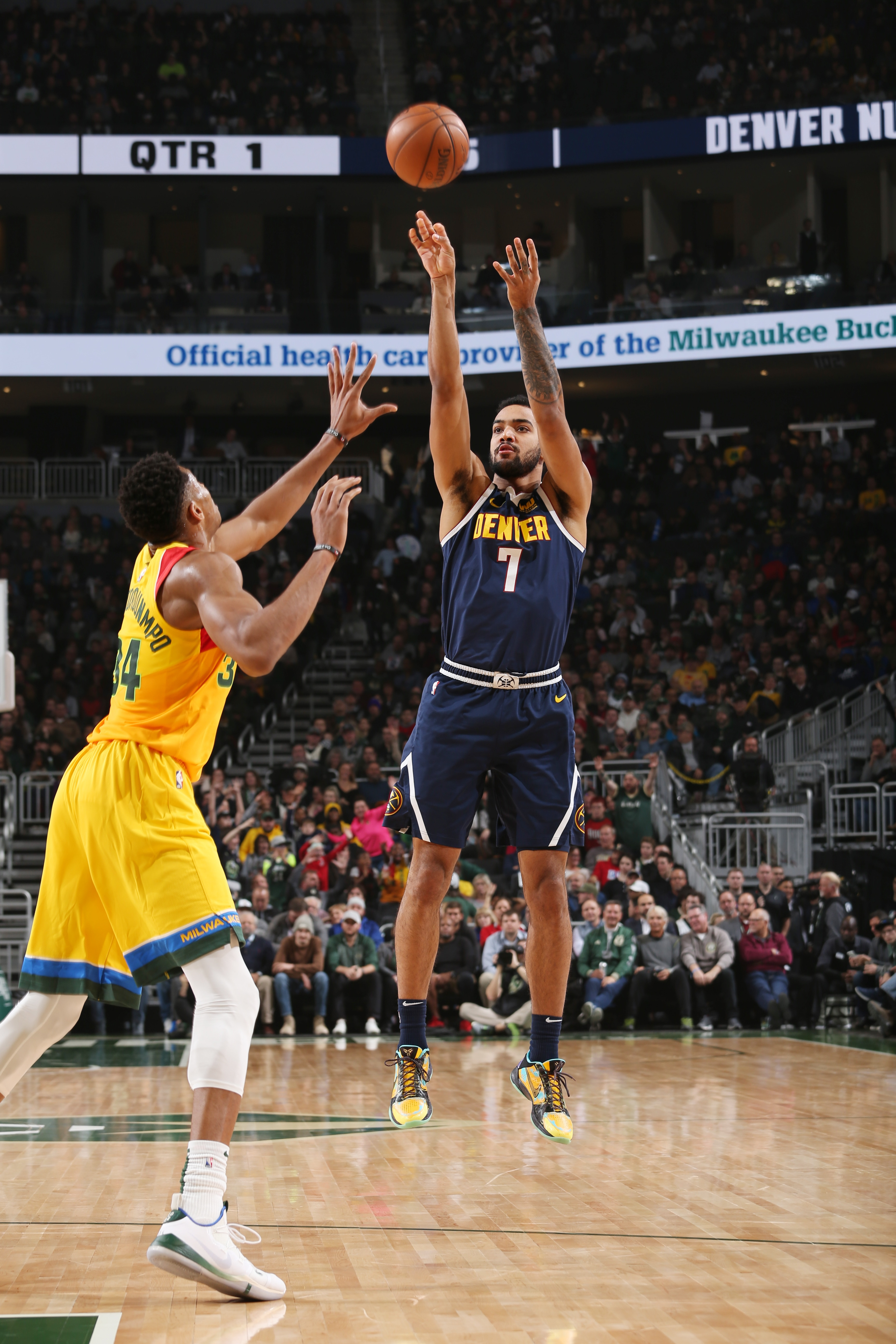 The Nuggets take on the Bucks in Milwaukee on Nov. 19, 2018.