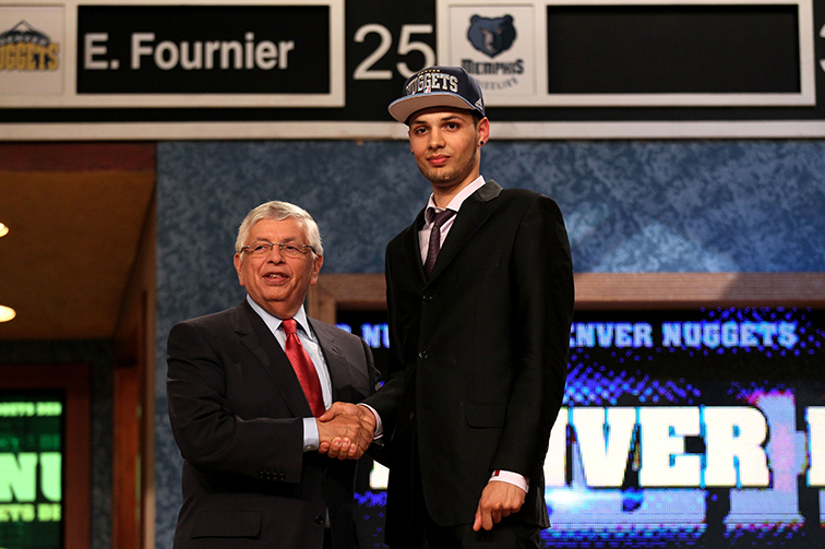 Evan Fournier was selected number twenty overall by the Denver Nuggets during the first round of the 2012 NBA Draft