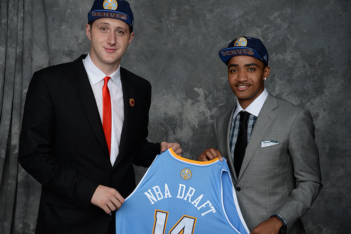Jusuf Nurkic and Gary Harris, both aquired via trade by the Denver Nuggets, pose for a portrait during the 2014 NBA Draft.