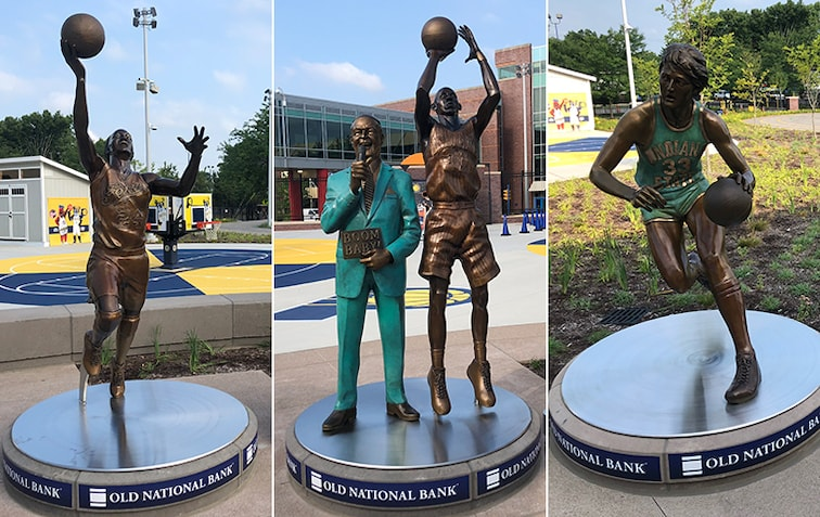 Tamika Catchings, Slick Leonard, Reggie Miller, Larry Bird statues at Indianapolis Children's Museum