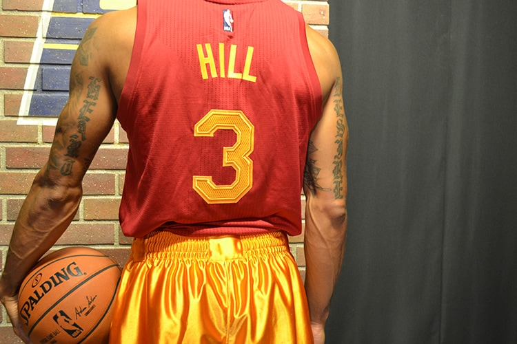3e6fdefb542 Indiana native and Pacers point guard George Hill models the  Hoosiers-inspired Hickory uniform that