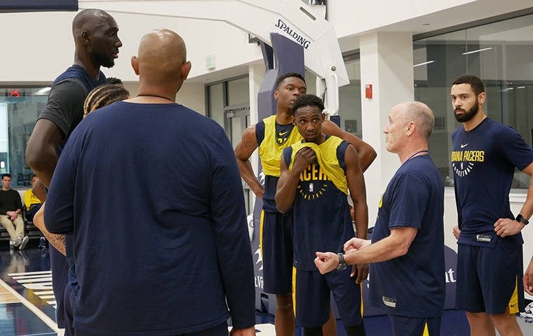 Tacko Fall, Mfiondu Kabengele receive instruction from Pacers assistant Dan Burke