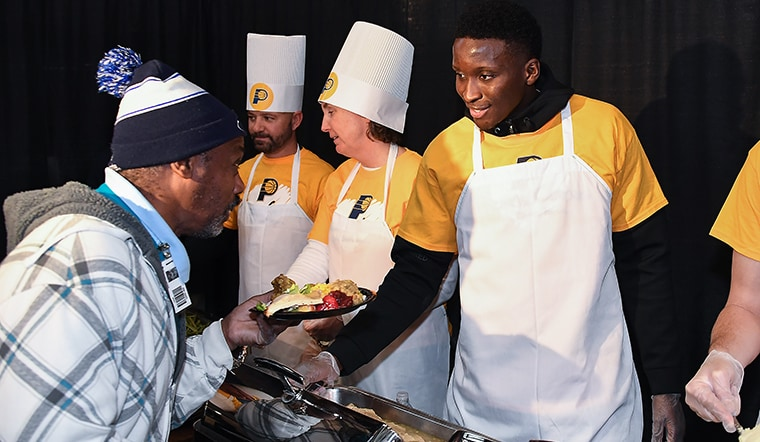 "Pacers Give Back at Annual ""Come to Our House"" Thanksgiving Dinner"