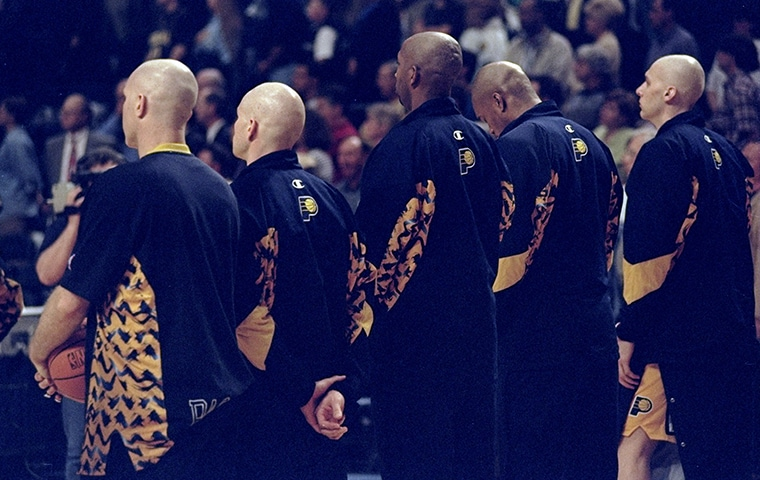 Pacers players with shaved heads