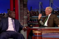David Letterman talking with Hannibal Buress