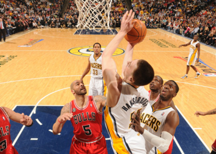 86a056ba2a97 Tyler Hansbrough  50 of the Indiana Pacers shoots against the Chicago Bulls  in Game Three