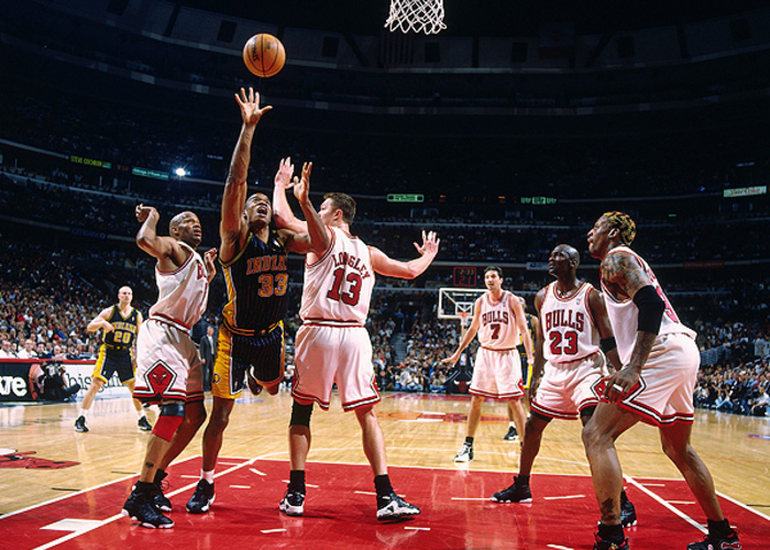 59d83abdcd0 Antonio Davis  33 of the Indiana Pacers puts up a shot against Luc Longley