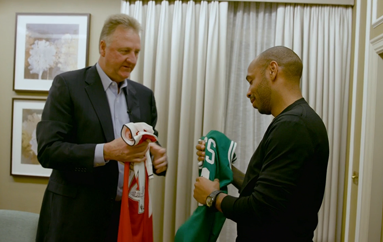 Larry Bird Visits With Soccer Legend Thierry Henry