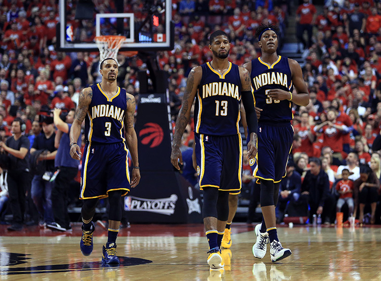 George Hill, Paul George, Myles Turner