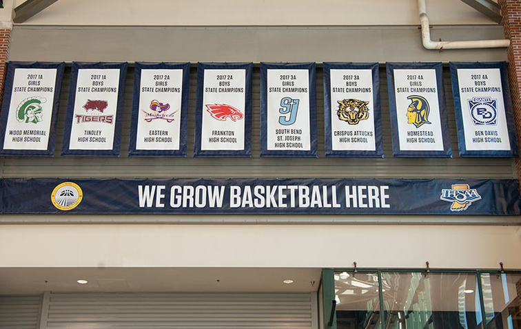 Reigning ihsaa basketball champions honored with banners for Mcgrath s fish house coupons