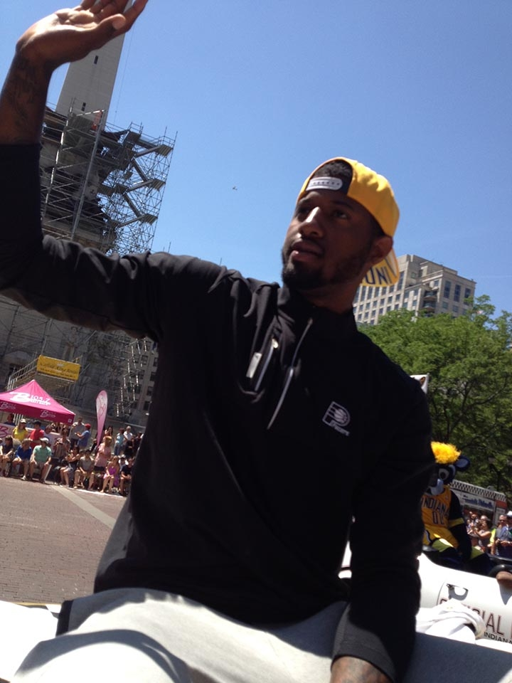Paul George, Coach Vogel, and Boomer in the 500 Festival Parade