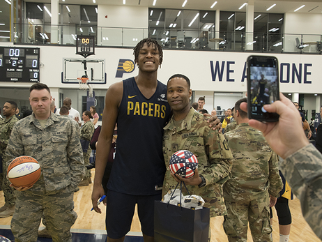 Pacers Host Troops for Practice at St. Vincent Center