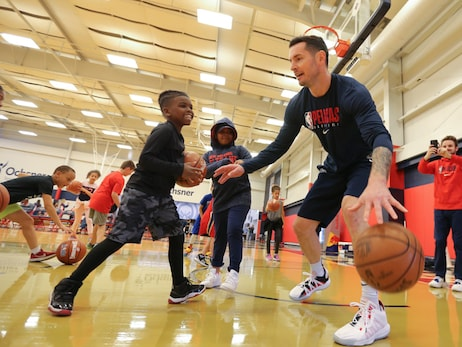JJ Redick coaches at Ford Youth Basketball Clinic