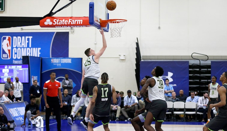 Players compete at the 2019 NBA Draft Combine, which will not take place this year