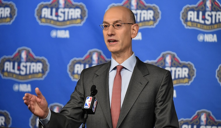 Adam Silver at a press conference in New Orleans during All-Star weekend