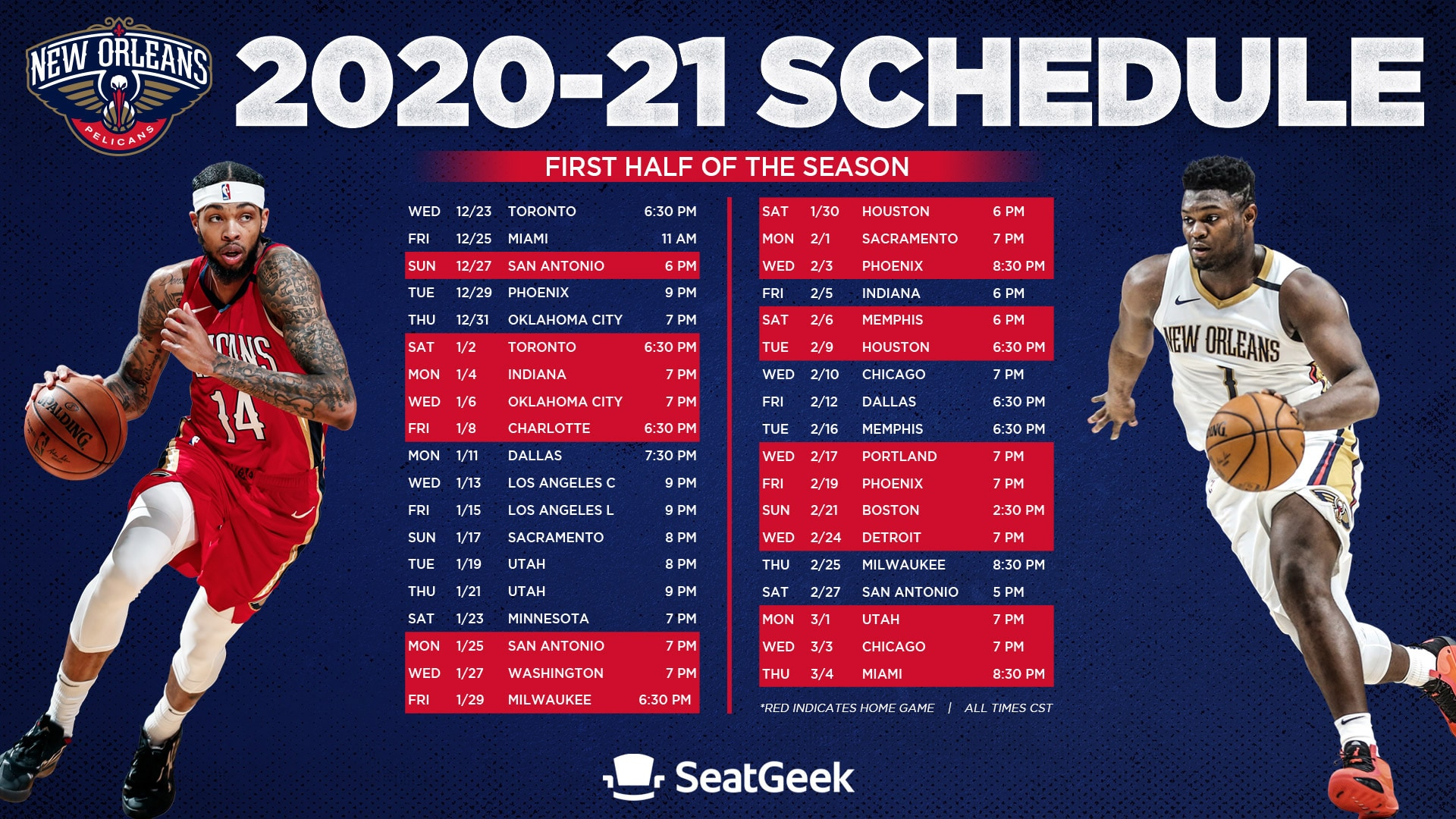 New Orleans Pelicans announce first half of 2020 2021 regular