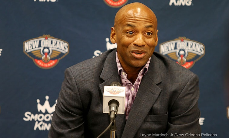 Dell Demps speaks to the media during Monday's press conference in Metairie