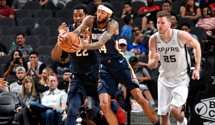 Brandon Ingram grabs a loose ball at San Antonio