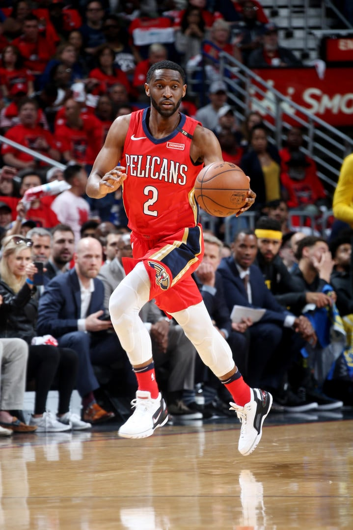 NEW ORLEANS, LA - MAY 4: Ian Clark #2 of the New Orleans Pelicans handles the ball against the Golden State Warriors during Game Three of the Western Conference Semi Finals of the 2018 NBA Playoffs on May 4, 2018 at the Smoothie King Center in New Orleans, Louisiana. (Layne Murdoch/NBAE via Getty Images)