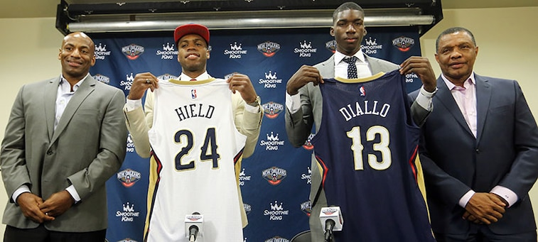 (left to right) Dell Demps, Buddy Hield, Cheick Diallo, Alvin Gentry at Friday's press conference