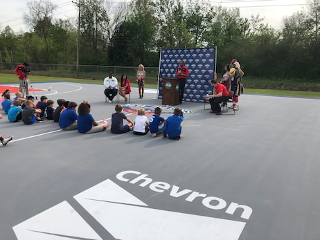 Pelicans and Chevron Refurbish Basketball Court at Cypress Park