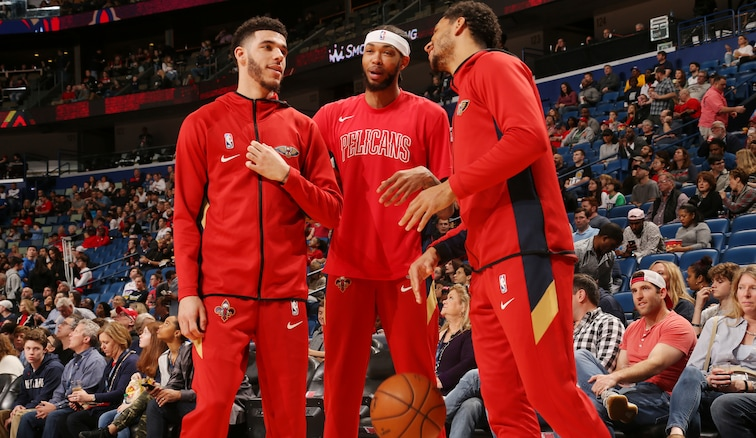 (left to right) Lonzo Ball, Brandon Ingram, Josh Hart talk prior to a home game