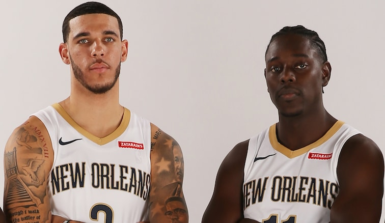 New Orleans guards Lonzo Ball (left) and Jrue Holiday on Media Day
