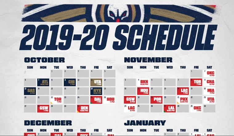 photograph regarding Printable Pacers Schedule named Down load a Printable Pelicans 2019-20 Routine Fresh Orleans