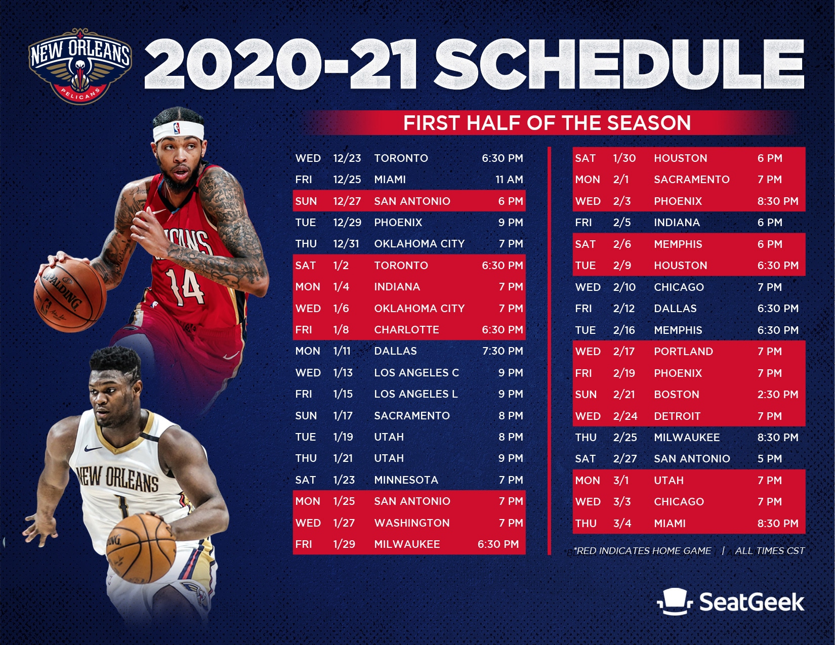 Download A Printable Pelicans 2020 21 Schedule New Orleans Pelicans