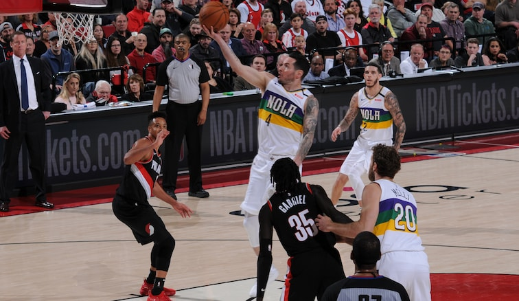 JJ Redick shoots a floater at Portland