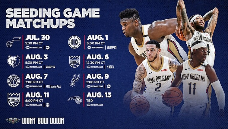 Pelicans NBA Restart Schedule in Orlanndo