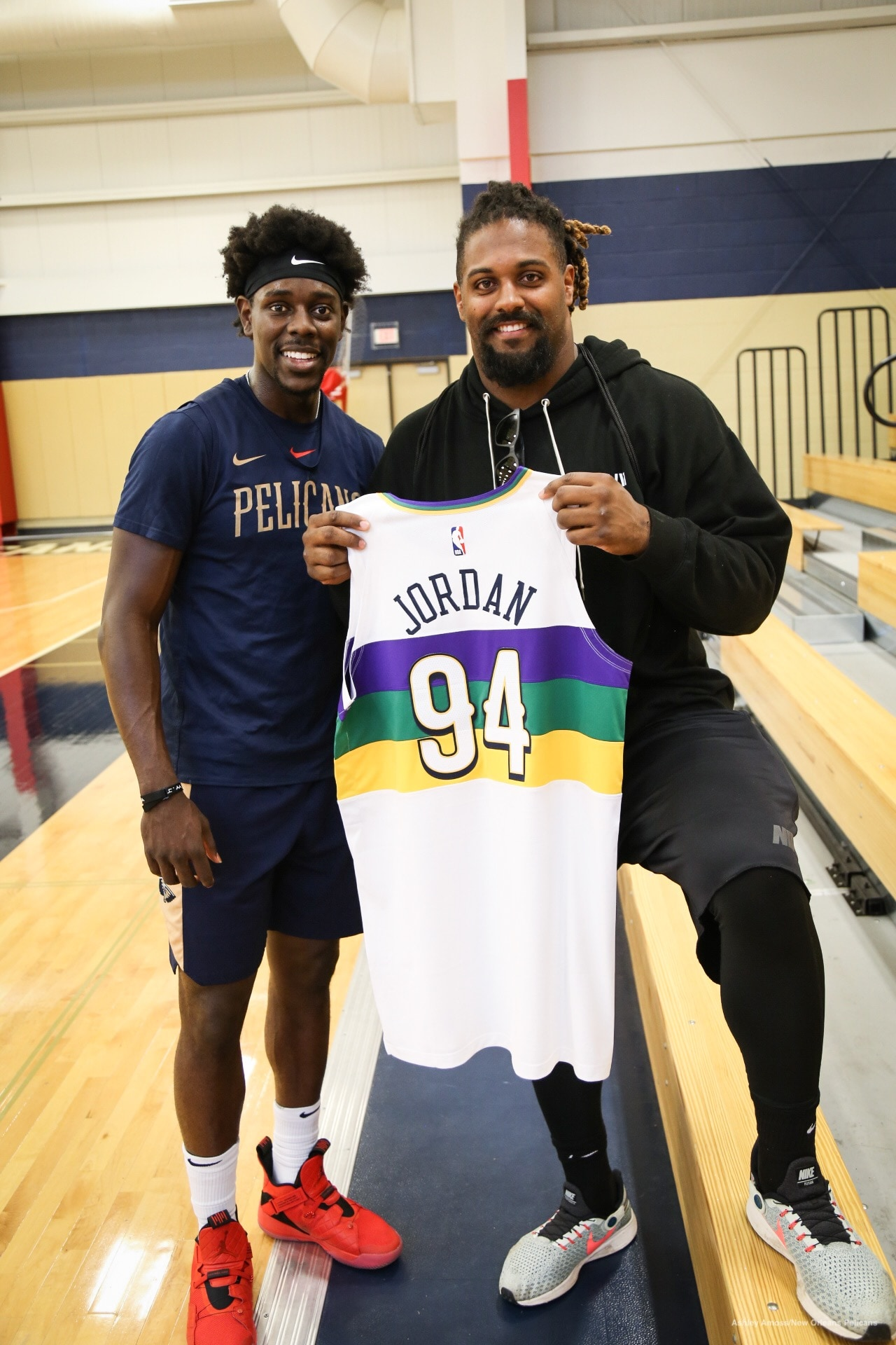 on sale fa24d bb724 Cam Jordan Receives Custom Pelicans Jersey from Jrue Holiday ...