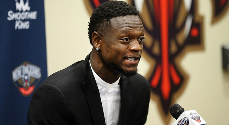 Julius Randle addresses the media during a July 13 press conference