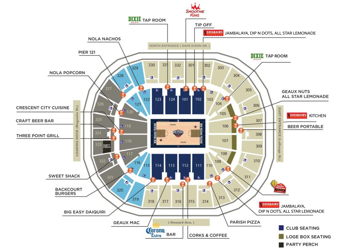 Smoothie King Center Concessions | New Orleans Pelicans on quiznos map, krispy kreme map, cici's pizza map, ihop map, fazoli's map, taco bell map, in-n-out burger map, chick-fil-a map, mcdonald's map, dairy queen map, carl's jr map, panera bread map, safeway map,