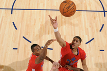 Anthony Davis extends for a rebound during the 2014 All-Star Game